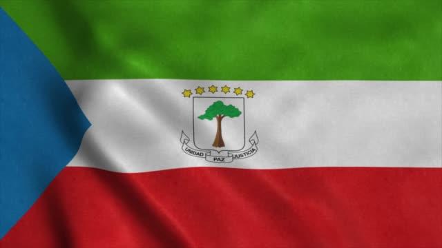 ekvatorialguinea flagga vinkar i vinden. sömlös slinga med mycket detaljerad tygstruktur - ekvatorn latitud bildbanksvideor och videomaterial från bakom kulisserna