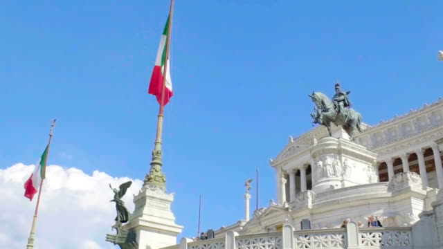 Equestrian sculpture of Victor Emmanuel at Altare della Patria, slow-motion video