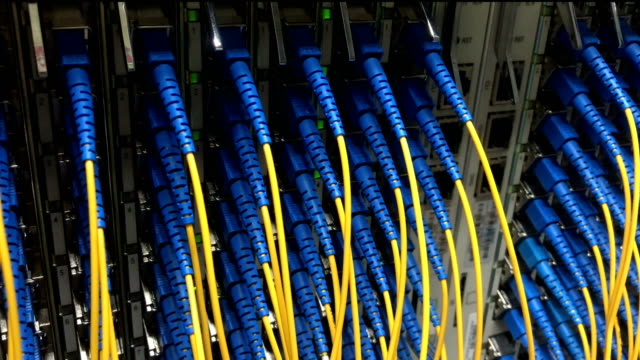 Equipment and Optical fiber in Server Room Status LED Equipment and Optical fiber in Server Room cable stock videos & royalty-free footage