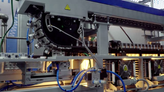 equipment for dairy industry, fully automatic pet blow molding machine - bio food video stock e b–roll