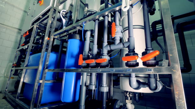 Equipment for water purification. Pipeline, valves, gauges. 4K. Equipment for water purification. Pipeline, valves gauges purified water stock videos & royalty-free footage