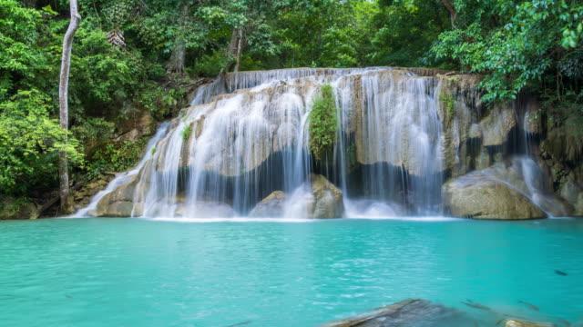 Erawan Waterfall in National Park, Kanchanaburi, Thailand - Time lapse