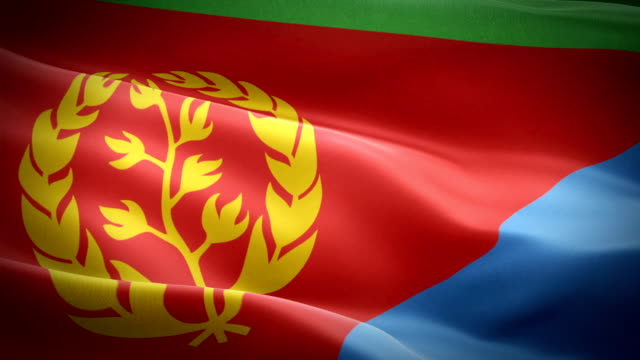 eritrea flag motion loop video waving in wind. realistic eritrean flag background. eritrea flag looping closeup 1080p full hd 1920x1080 footage. eritrea african country flags footage video for film,news - kiss filmów i materiałów b-roll