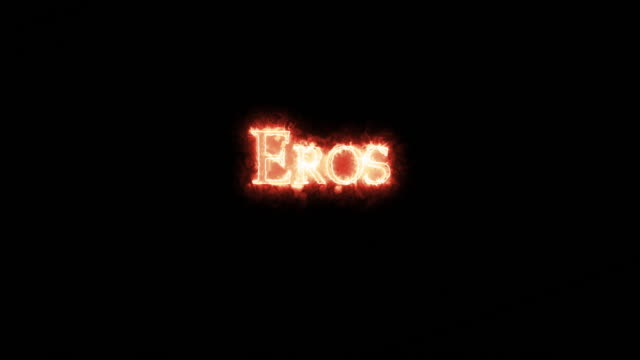 eros written with fire. loop - mitologia video stock e b–roll