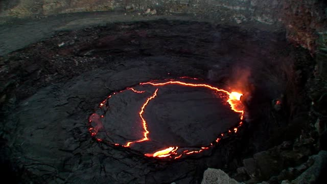 Erta Ale lava lake with eruptions video