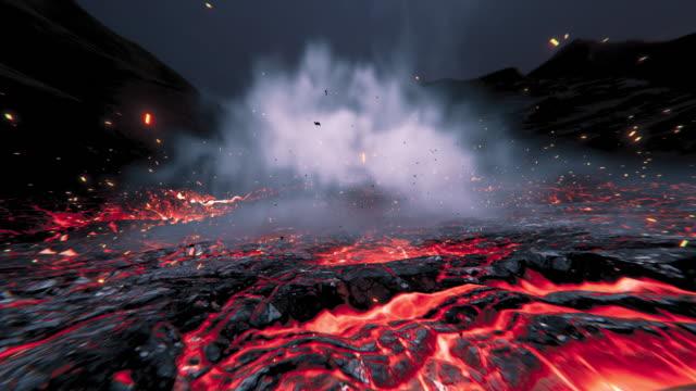 eruption in der lava rot heiße flüssigkeit. - vulkan stock-videos und b-roll-filmmaterial