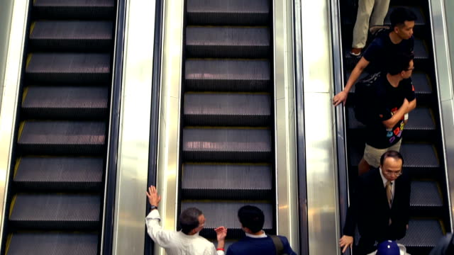 escalator in the mall - escalator video stock e b–roll