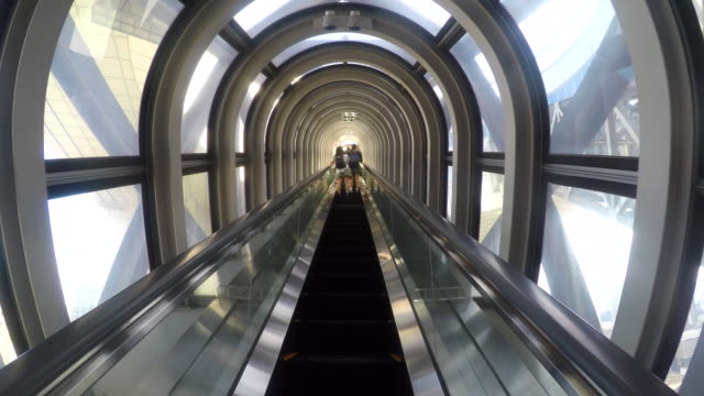 Escalator moving up in Modern Building video