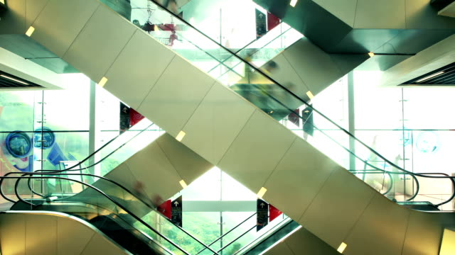Escalators in shopping mall video