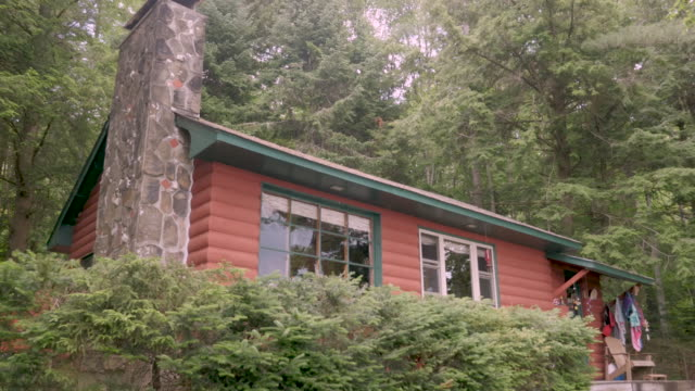 Establishing shot of a log cabin locked down shot in the summer