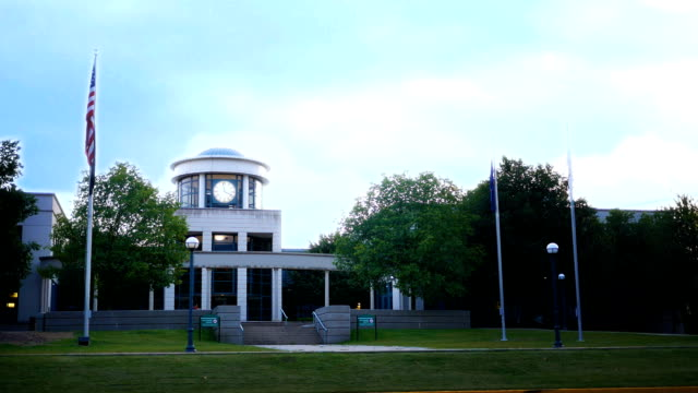 Establishing shot of modern town hall building in rural american town video