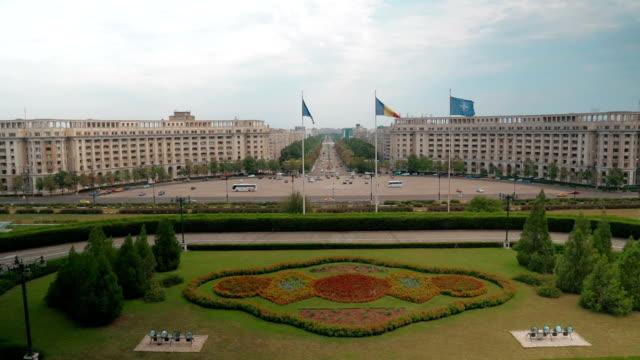 Establishing shot of the city of Bucharest in Romania, showing the Parliament Square and Liberty Avenue video