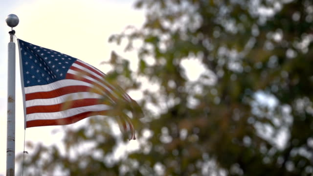 AMERICAN FLAG establishing shot sunset 240 fps slow motion video