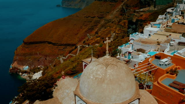 Establishing Wide Angle Shot of a Traditional Cycladic Village and the Aegean Mediterranean Sea video