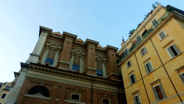 Establishment shot of Rome traditional buildings
