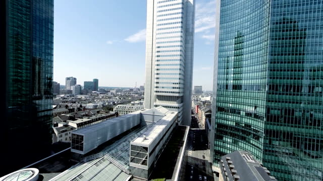 establishment shot of skyscraper buildings video