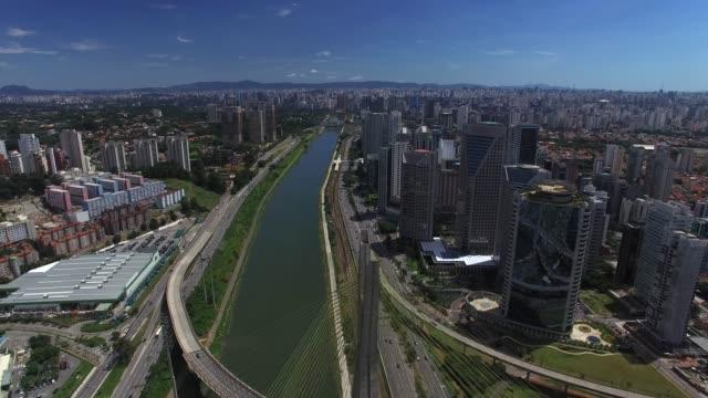 Estaiada Bridge in Sao Paulo, Brazil Estaiada Bridge in Sao Paulo, Brazil marginal tiete highway stock videos & royalty-free footage