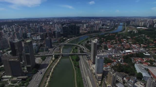 Estaiada Bridge in Sao Paulo, Brazil Estaiada Bridge in Sao Paulo, Brazil marginal pinheiros stock videos & royalty-free footage