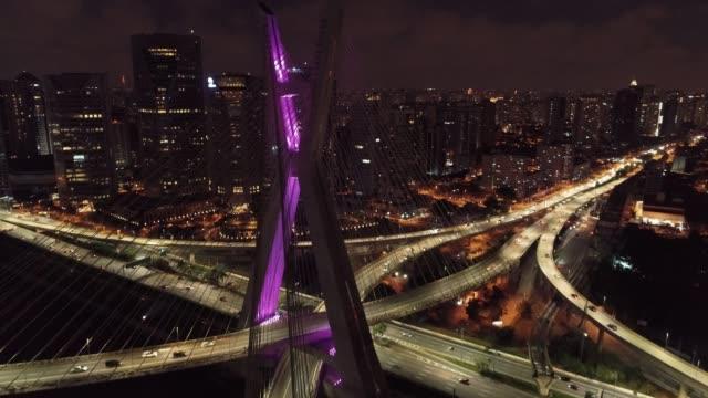 Estaiada's bridge aerial view. São Paulo, Brazil. Business center. Financial Center. Great landscape. Famous cable-stayed bridge of Sao Paulo. Landmark of the city.