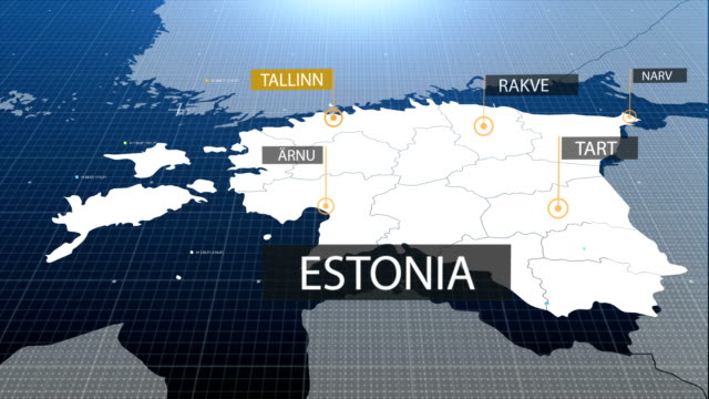 estonia map with label then with out label - estonia video stock e b–roll
