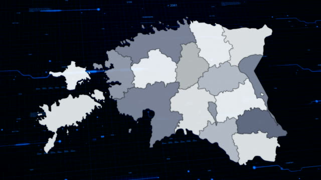 stockvideo's en b-roll-footage met estland netwerk kaart - estland