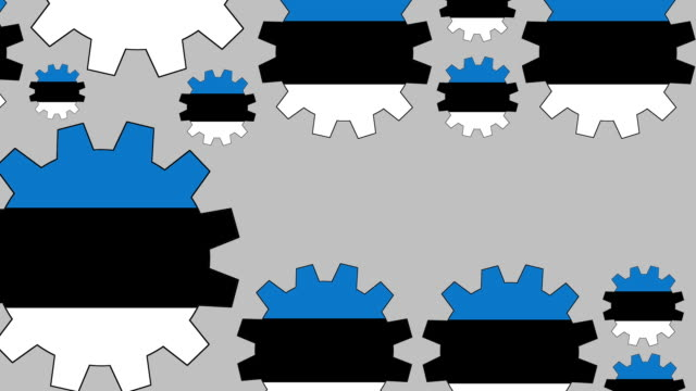 Estonian flag gears shaping euro symbol Digital animation of turning estonian flag gears shaping euro symbol while zooming out for business concept schengen agreement stock videos & royalty-free footage