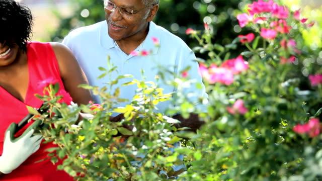 Ethnic retired loving couple enjoying the health benefits video