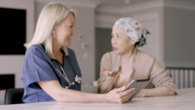 がんを持つエスニックシニア女性が女性医師と話す - 回復点の映像素材/bロール