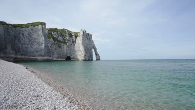 Etretat Left Cliff and beach MV - HD  normandy stock videos & royalty-free footage