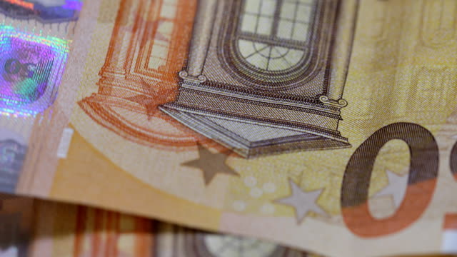 Euro banknote 50 (currency of the European Union) - selective focus, rotation. (4 k ungraded ) video