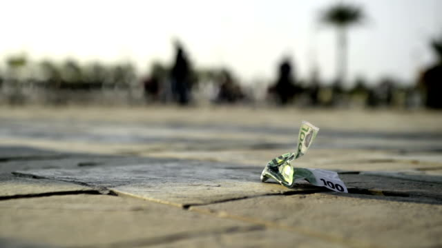 100 euro banknote on the floor. video
