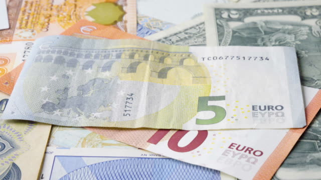 Euro Banknote Turning 2 Clips In 1 Stock Footage Slow & Fast. video