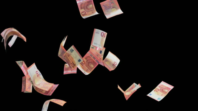 SLO MO Euro banknotes colliding in the air video