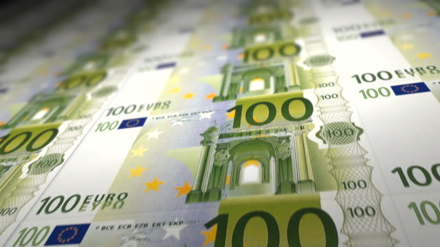 100 Euro Banknotes A tracking shot over hundreds of 100 Euro banknotes. european union currency stock videos & royalty-free footage