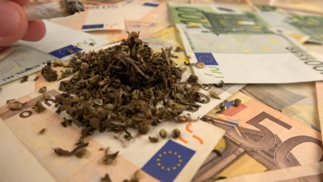 Euro banknotes with marijuana Crime scene .Euro banknotes with marijuana narcotic stock videos & royalty-free footage