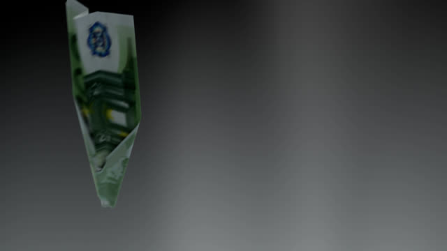 Euro bill plane falls down concept - loopable video
