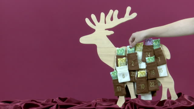 Euro bills in Advent Calendar video