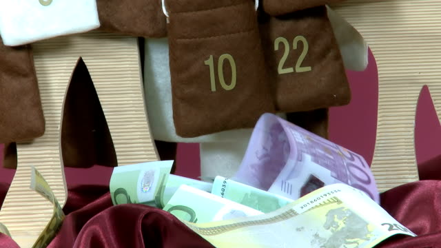 Euro bills out of Advent Calendar video