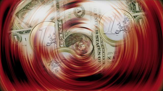 Euro coins and dollar rotating - Euro y dolar  girando