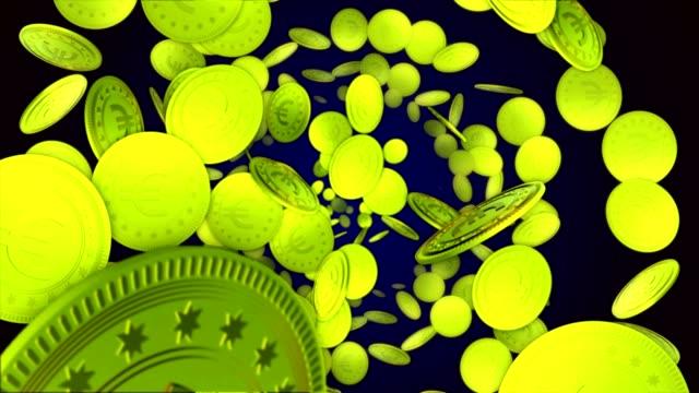 vídeos de stock e filmes b-roll de euro coins, currency money symbol animation, rendering, background, loop - circular economy