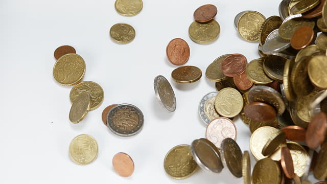 Euro Coins Falling against white Background, Slow motion 4K