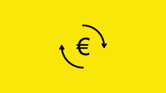 euro currency circulation - simbolo dell'euro video stock e b–roll