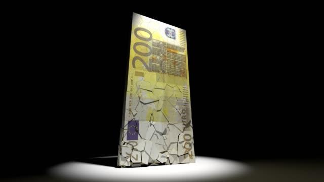 euro-währung zusammenbruch animation eu europäisches geld 4k - inflation stock-videos und b-roll-filmmaterial