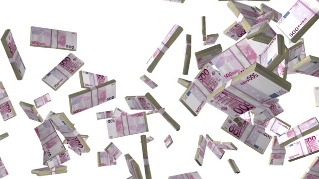 Euro currency stack flying in slow motion against white