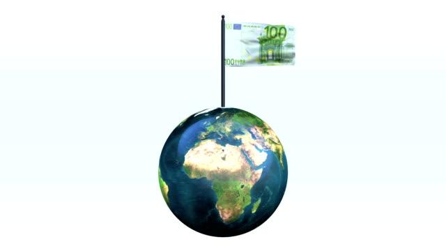 Euro Flag Waving And Earth Rotating, Loop video