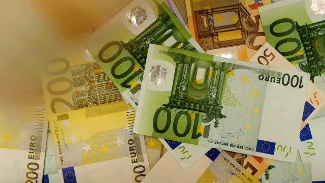 HD - Euro money. Banknotes falling down video