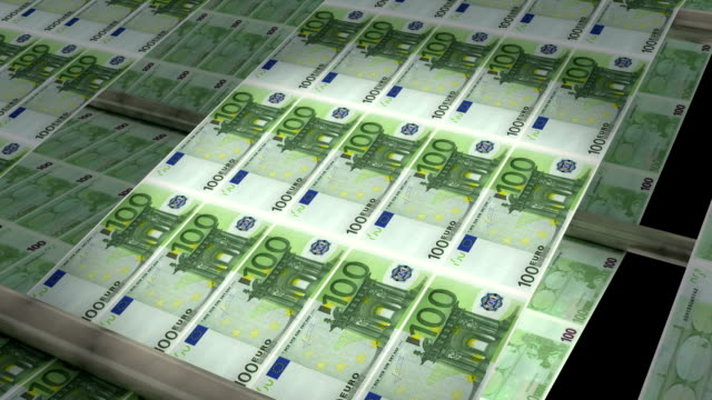 Euro Printing! An animation of a printing press producing money. Good for expressing today`s tendency of money inflation, economical crisis; as well as making money, getting richer, success,.. european union currency stock videos & royalty-free footage