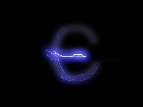 vídeos y material grabado en eventos de stock de pal: euro señal en lightning - accesorio financiero