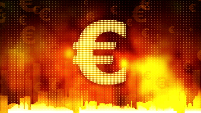 Euro sign pulsing on fiery background, money rules the world, greed, obsession video