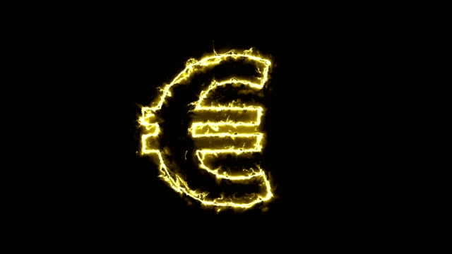 Euro sign, silhouette in glowing energy aura. Two color solutions